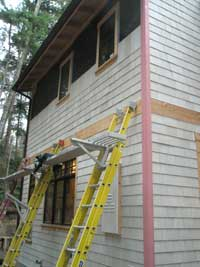 Hardi-shingles on the north side of the house