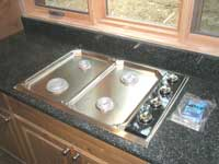 Wolf cooktop set in the kitchen counter